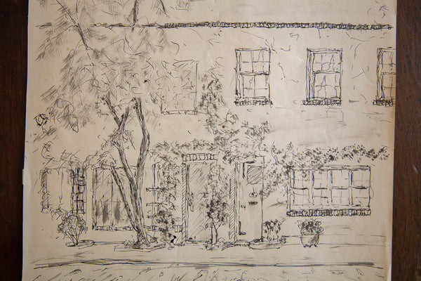 Beautiful Street Scene in Ink - Old New House
