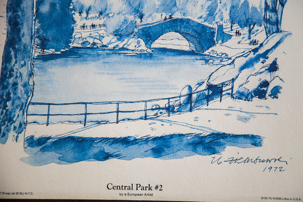 Blue Minimalistic Central Park Nyc Lithograph 2