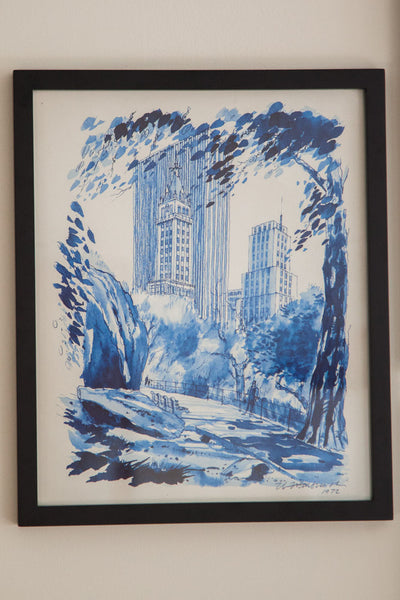 Blue Minimalistic Central Park NYC Lithograph 3 - Old New House
