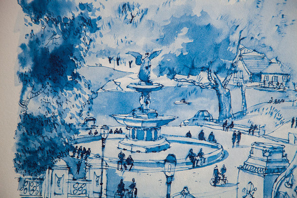 Blue Minimalistic Central Park NYC Bethesda Fountain Lithograph 4 - Old New House