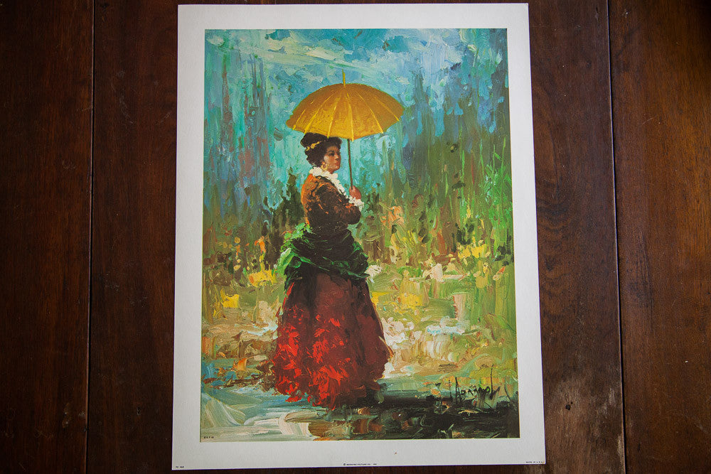 Lady With Gold Umbrella - Old New House