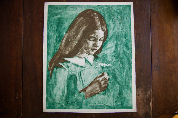 Amazing Green and Grey Girl with Daisy by Palmieri - Old New House