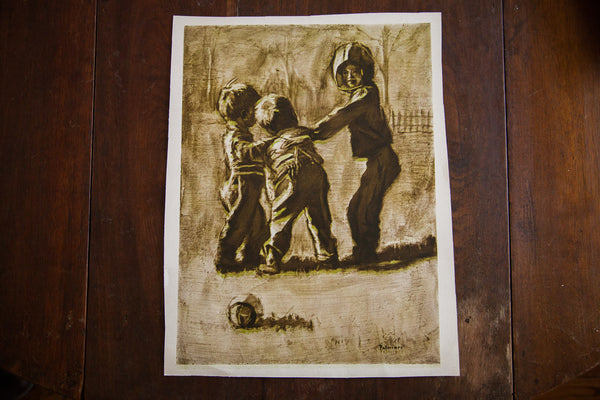 Children Playing Football By Palmieri