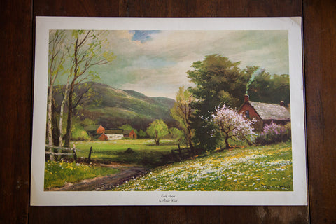 Early Spring By Robert Wood Lithograph Old New House