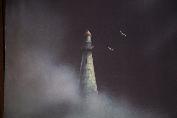 Lighthouse in Darkness with Seagulls - Old New House