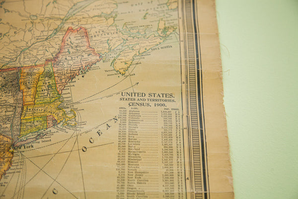 United States With Cuba Possession Antique Wall Map