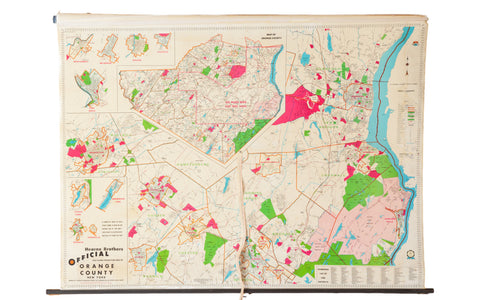 Mid Century Orange County Ny Hearne Brothers Pull Down Map