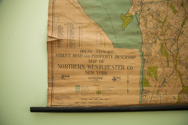 Vintage 1930S Northern Westchester Property Owner Wall Map