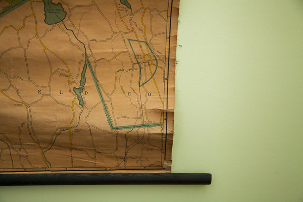 Vintage 1930s Northern Westchester Property Owner Wall Map - Old New House