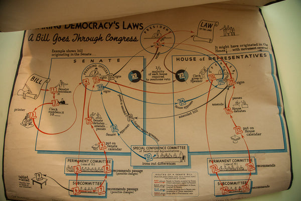 Vintage 60s Denoyer Geppert Our Democracy Chart - Old New House