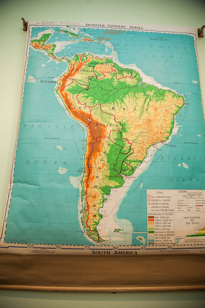 Vintage South America Pull Down Map - Old New House