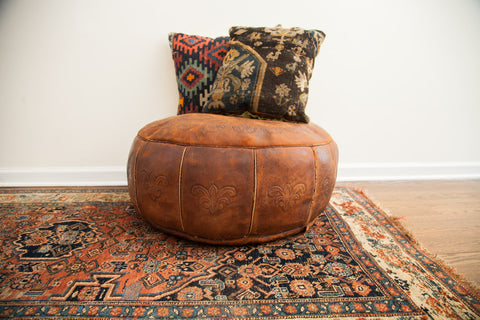Antique Leather Pouf Ottoman