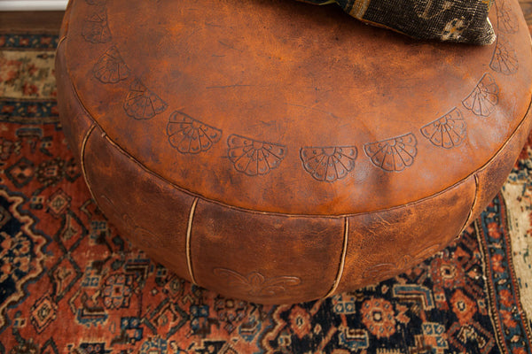 Antique Leather Pouf Ottoman - Old New House