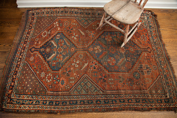 4x5 Antique Tribal Persian Shiraz Rug - Old New House