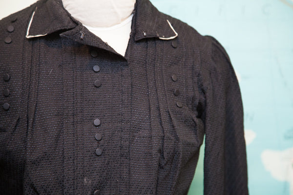 Antique Edwardian Era Black Button Bodice // Size XS - Old New House