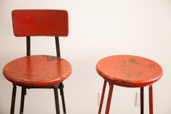 Industrial Royal Metal Stool Chair Pair - Old New House