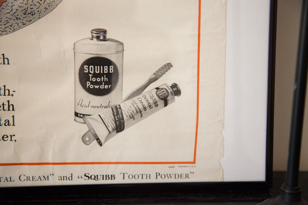 1920s Vintage Tooth Diagram Squibb Advertisement Poster - Old New House