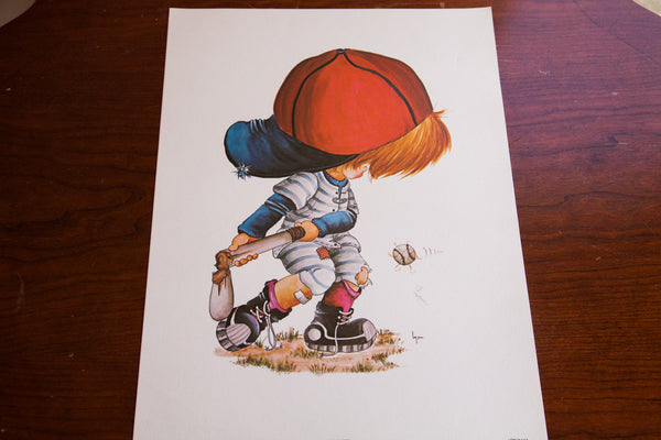 Vintage 70s Baseball Boy Art - Old New House