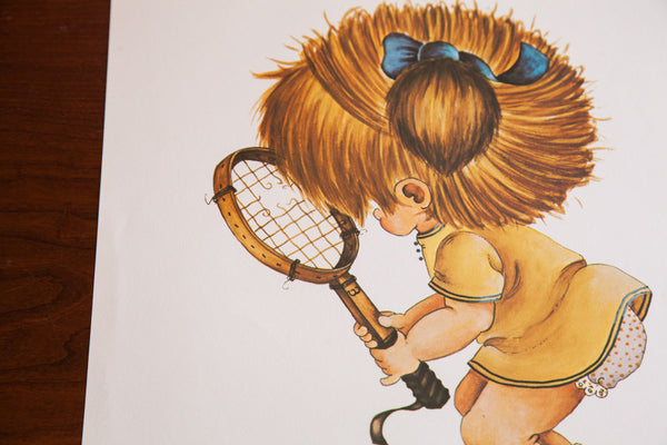 Vintage 70s Tennis Girl Kid Art - Old New House