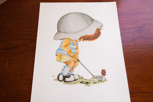 Vintage Little Girl Golfing Lithograph - Old New House