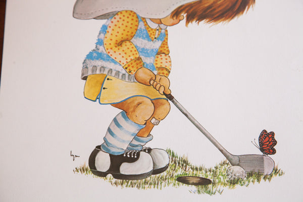 Vintage Little Girl Golfing Lithograph