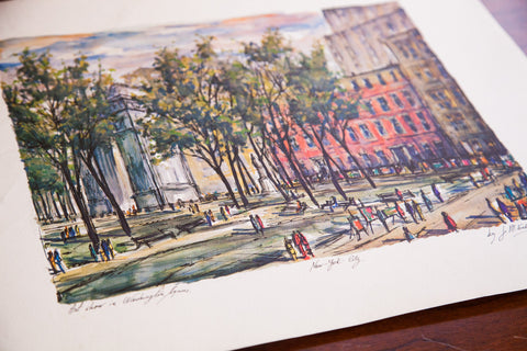 Vintage New York City Lithograph Art Painting of an art show in Washington Square Park in the big apple
