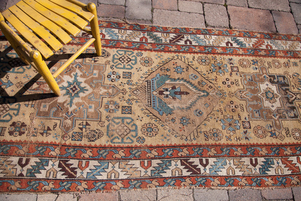 3x11 Antique Northwest Persian Yellow Rug Runner - Old New House