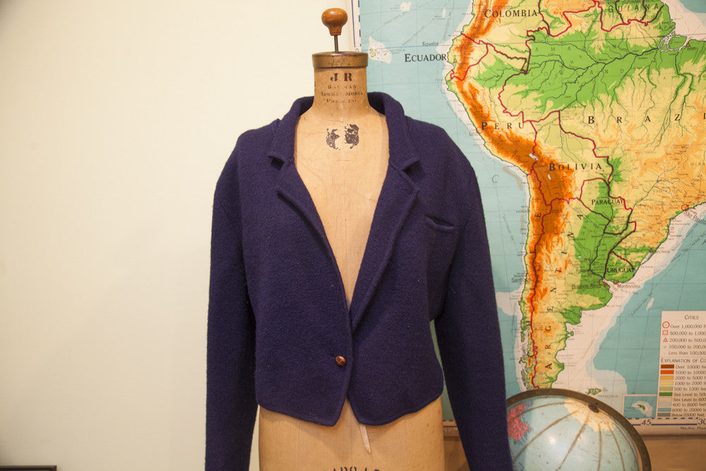 Vintage Navy Blue Slouchy Sweater Jacket - Old New House