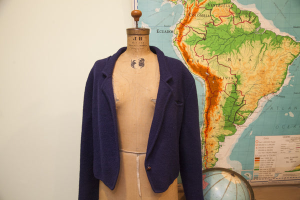 Vintage Navy Blue Slouchy Sweater Jacket