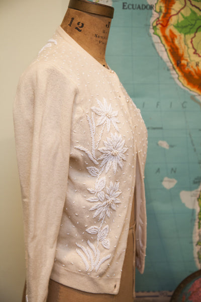 Vintage 50s Beaded Cashmere Sweater
