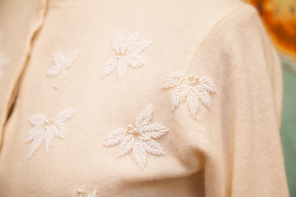 Vintage 50s Beaded Lambswool Angora Sweater