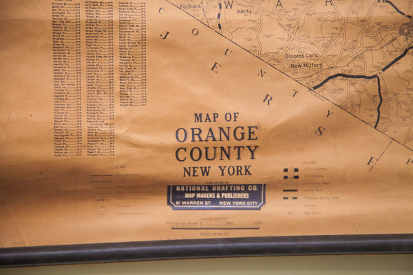 Vintage 1930s Dolph Stewart Orange County New York Map - Old New House