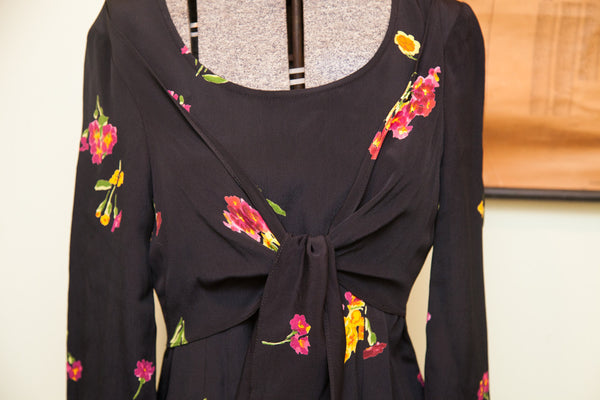 Vintage Betsey Johnson Floral Black Grunge Dress // Size 10