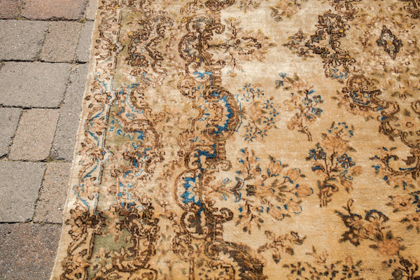 6x9 Vintage Ivory Kerman Persian Area Rug - Old New House