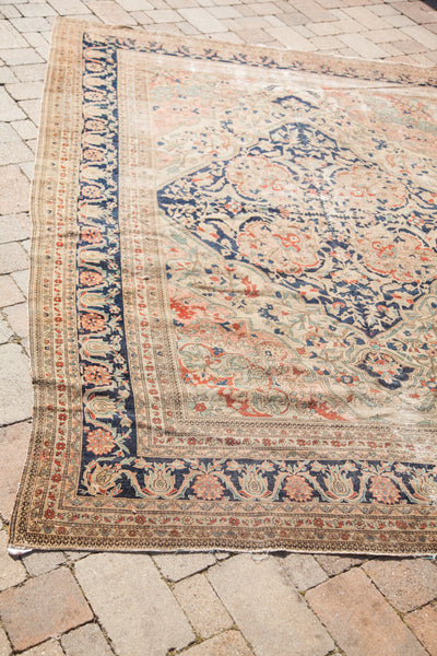 A.L. 8X11 Antique Worn Farahan Sarouk Design Rug - Old New House
