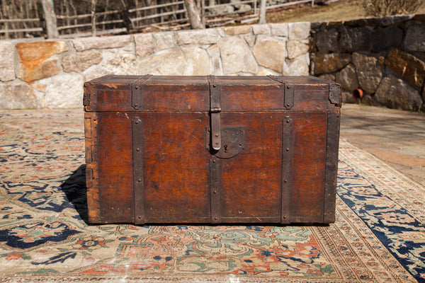 Antique 18th Century Wooden Trunk - Old New House