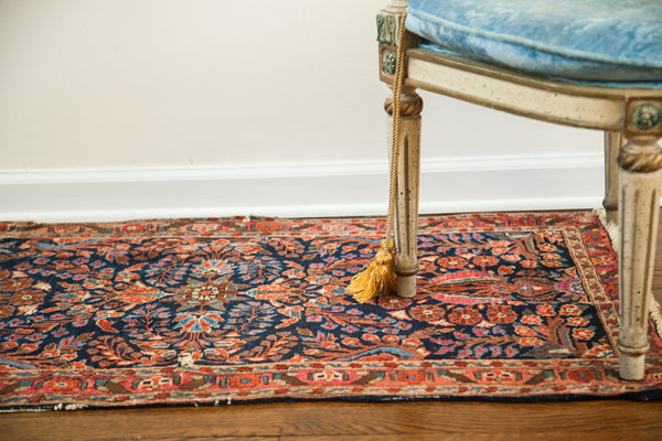 2x4 Vintage Deep Blue Sarouk Persian Rug Runner - Old New House