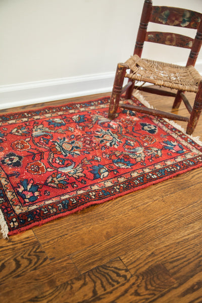 2x2.5 Vintage Small Red Rug - Old New House