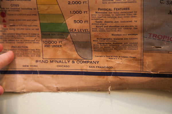 Vintage United States Pull Down Map - Old New House