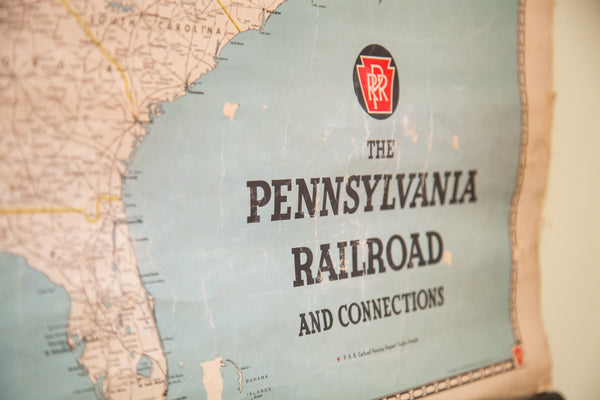 Vintage Pennsylvania Railroad Pull Down Map - Old New House