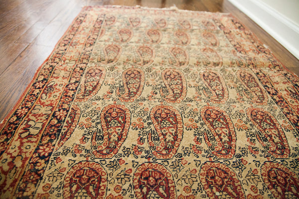 2.5x4 Worn Antique Signed Kerman Rug - Old New House