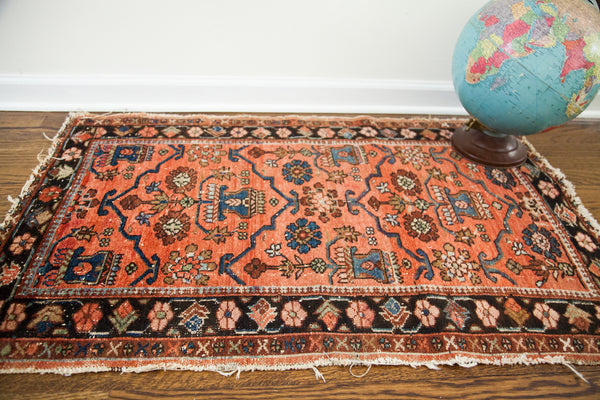 2.5x4 Bold Vintage Worn Red Lilihan Rug w/ Pad - Old New House