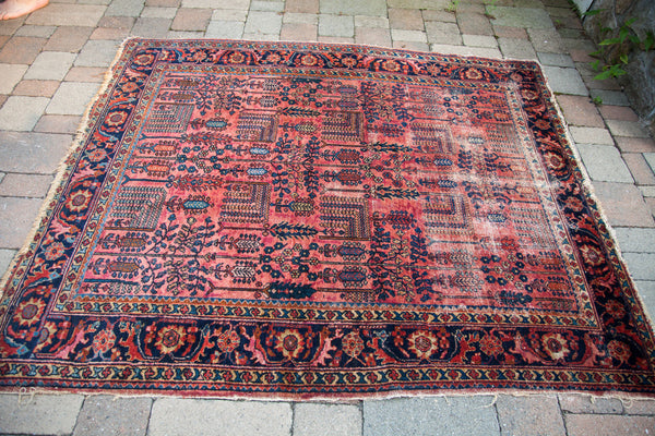 5x6 Painted Vintage Lilihan Square Rug - Old New House