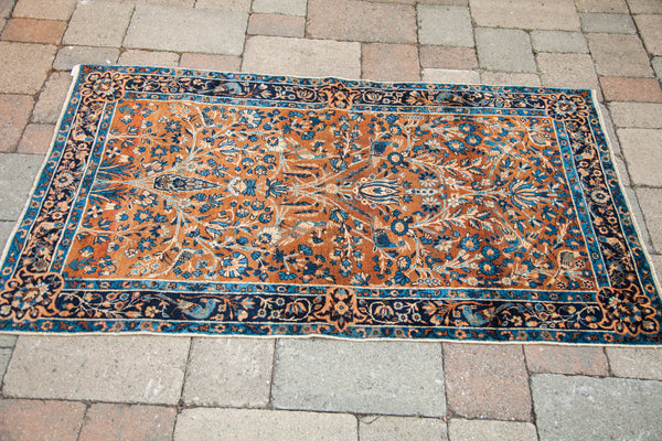 3x5 Vintage Yezd Rug Gold Brown And Blue - Old New House