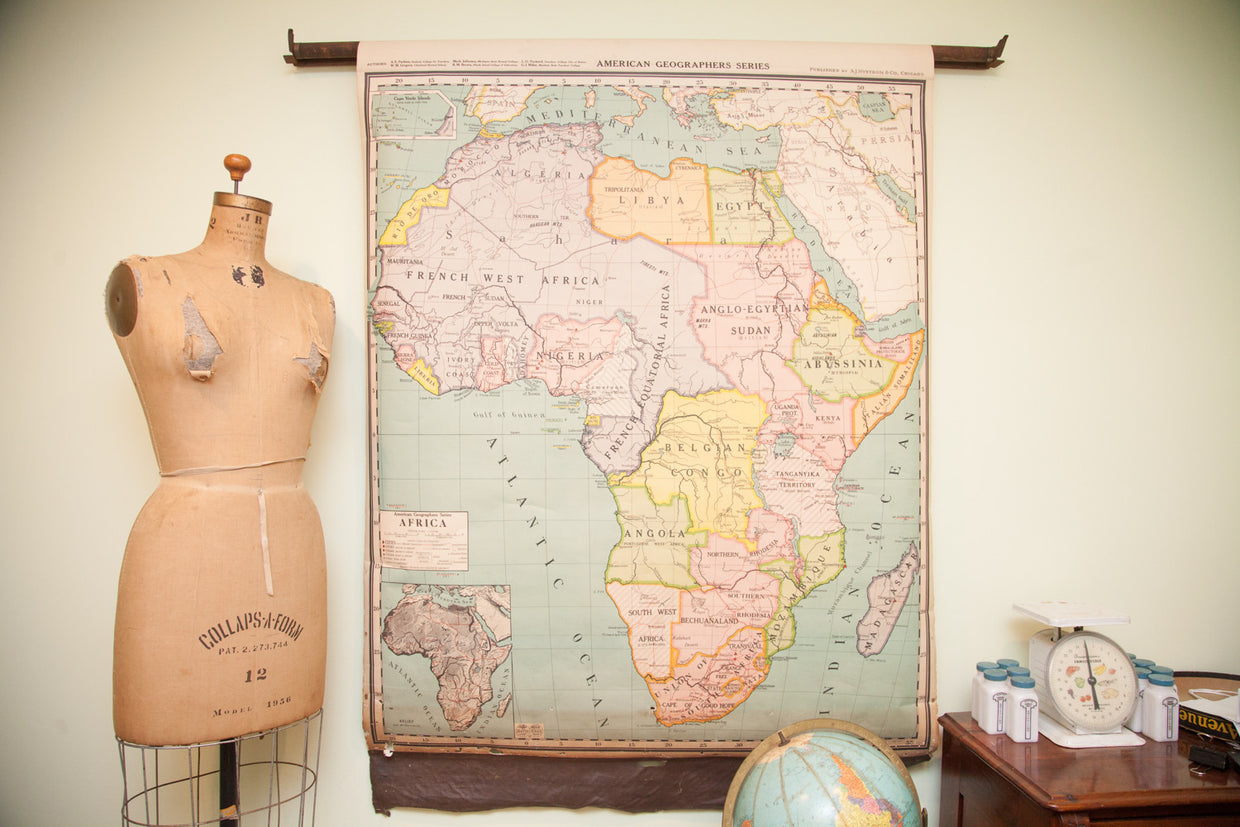Antique Pull Down Map of Africa - Old New House