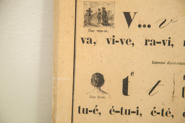 19th Century French Alphabet School Chart - Old New House
