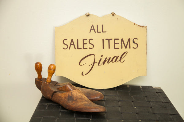 Vintage 1940s Store Sign All Sales Final - Old New House