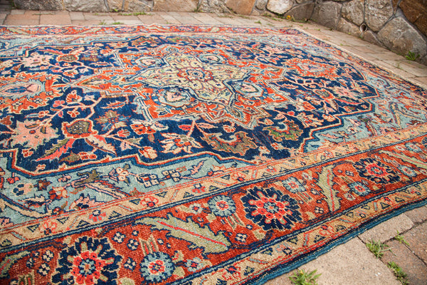 7x10 Vintage Blue Persian Heriz Rug - Old New House
