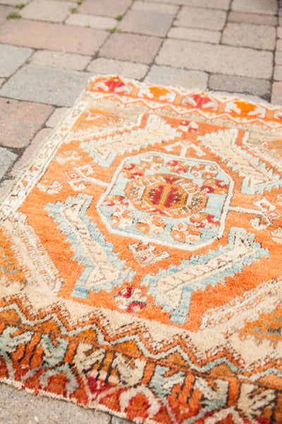 2x3 Little Orange Vintage Turkish Rug - Old New House