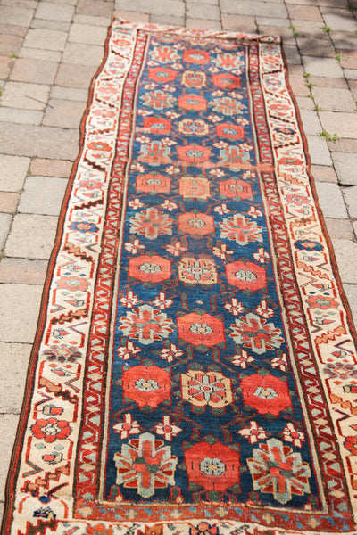 3x8 Antique 1850s Persian Rug Runner - Old New House